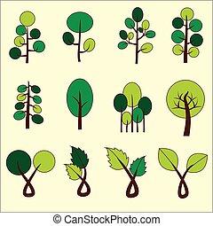 木。, 芸術, クリップ, 抽象的, ベクトル, 緑, graphic.