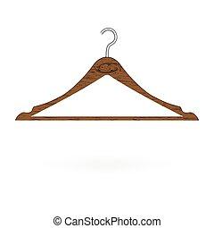木, 衣服の ハンガー, 隔離された, 白, バックグラウンド。, ベクトル, イラスト