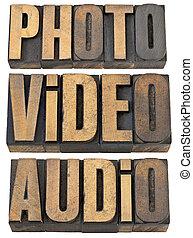 木, 言葉, オーディオ, ビデオ, タイプ, 写真