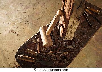 木, 道具, 仕事, のみ, アトリエ, ハンマー, 彫刻家