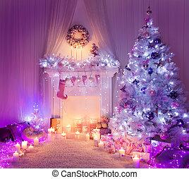 木, 部屋, 装飾, ソックス, ライト, クリスマスプレゼント, 掛かること, 内部, 家, 暖炉, クリスマス