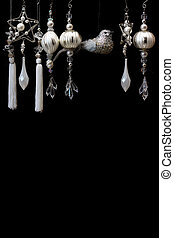 木, 銀, 黒, 装飾, 白い クリスマス