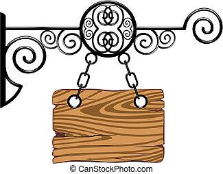 木, 鎖, 板