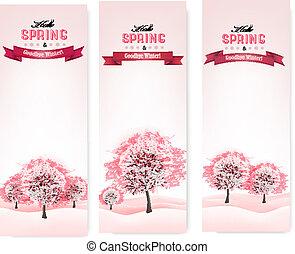 木。, 開くこと, 3, sakura, vector., 春, 旗