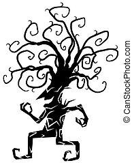 木, 陽気, シルエット, 漫画, 数字