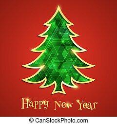 木, 隔離された, 白熱, 背景, エメラルド, クリスマス, 赤