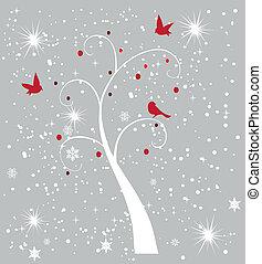 木, 雪, 鳥