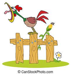 木, 鳴く, フェンス, おんどり