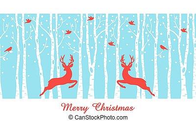 木, 鹿, 森林, クリスマス, シラカバ