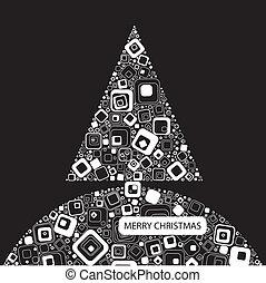 木, 黒い背景, クリスマス, ベクトル, illustration.