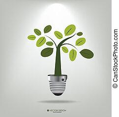 木。, illustration., eco, ライト, ベクトル, 電球, concept: