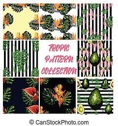 木, paradis, ハイビスカス, 鳥, 葉, やし, パターン, seamless, monstera., 熱帯の花, アボカド, 緑