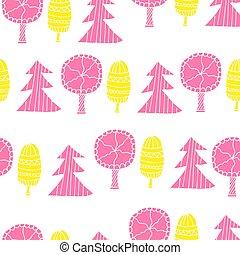 木。, pattern., seamless, 創造的, 秋の森林, 引かれる, 手, textures.