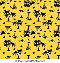 木, seamless, パターン, シルエット, 背景, やし, 黄色, 貝殻, 黒