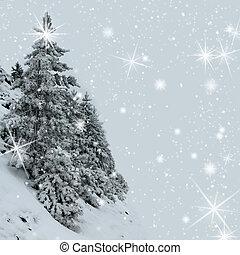 木, slop, 雪が覆われる