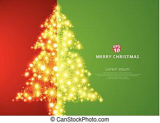 木, space., 照明, 背景, 緑, コピー, クリスマス, 赤