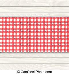 木, vector., テーブルクロス, テーブル。, 白い赤