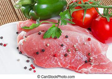 未加工, スパイス, 肉