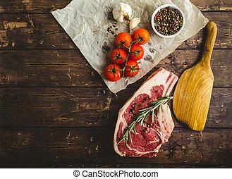未加工, 大理石模様にされた, ステーキ, 肉