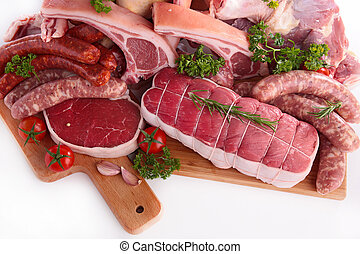 未加工, 肉