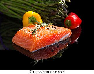 未加工, salmon.