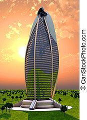 未来派, の後ろ, 日没, 超高層ビル