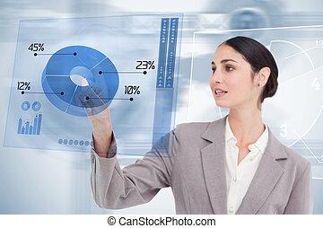 未来派, カラフルである, 青, 女性実業家, インターフェイス, 使うこと