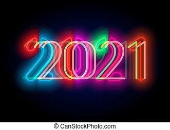 未来派, ベクトル, ネオン, 招待, カレンダー, スタイル, 年, 数, 2021, 照明, 新しい, 人気が高い, hud., 乱ちきパーティー, でき事, ディスプレイ, デジタル, design., cyberpunk, illustration., ポスター, ui, パーティー
