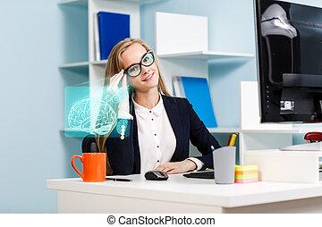 未来派, 女, ガラス, 仕事, ビジネス