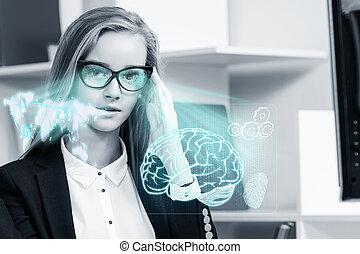 未来派, 女, glasses., 仕事, ビジネス