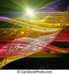 未来派, 技術, 波, 背景, デザイン, ∥で∥, ライト