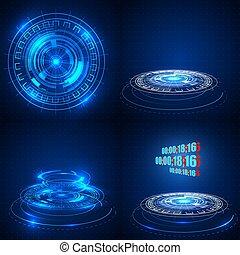 未来派, 抽象的, 技術的である, 背景, やあ、こんにちは, sci, ベクトル, 技術, illustration., fi, 概念