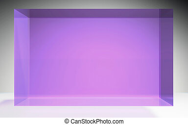 未来派, 立方体, 水晶, ディスプレイ, パネル, 紫色