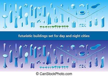 未来派, 等大, セット, 建物