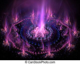 未来派, 紫色, ∥で∥, 青, 燃焼, energy., 高く, 詳しい, レンダリングした, artwork.,...