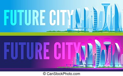 未来派, 都市の景観, イラスト, 現代