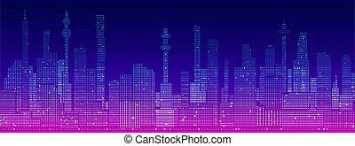 未来派, 都市の景観, シルエット, cyberpunk