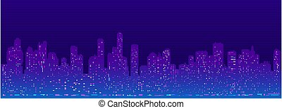 未来派, 都市の景観, cyberpunk, シルエット