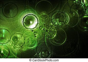 未来派, 雨滴, 抽象的, 中に, a, 緑水, 背景