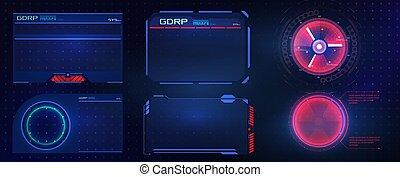 未来派, gui, 技術, グラフィック, 技術, インターフェイス, ベクトル, design., 要素, set., frame., 警告, デザイン, ユーザー, hud, game., ui, 抽象的, ビデオ, 高く, スクリーン, サイエンスフィクション, 概念