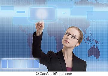 未来, ビジネス, 解決, ビジネス 女, 作動, インターフェイス
