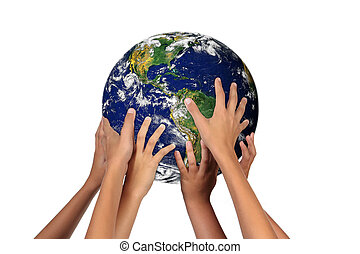 未来, 代, 带, 地球, 在中, 他们, 手