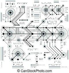 未来, 几何学, draft., 形状, 图, 线, 矢量, 猛冲, 工程, 墙纸, 技术, 技术