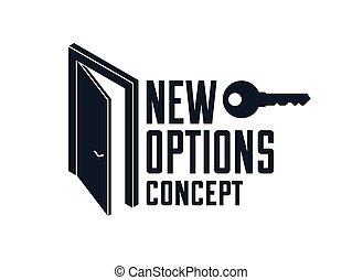 未来, 半分, ドア, ビジネス, ∥あるいは∥, キャリア, 秘密, allegory., 新しい, ベクトル, 始めなさい, 比喩, 概念, 神秘的, 開いた, ステップ, 機会