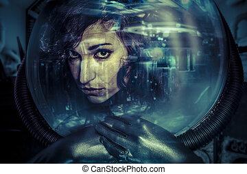 未来, 女性, ヘルメット, 概念, 黒, ラテックス, ∥で∥, ネオンライト