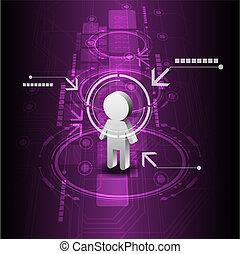 未来, 技術, 人間, 背景, デジタル