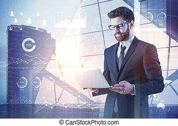 未来, 概念, 技術, analytics