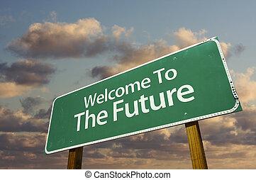 未来, 歓迎, 緑, 道 印