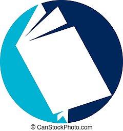 本を 開けなさい, ロゴ, デザイン, テンプレート, ベクトル