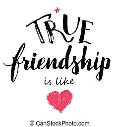 本当, 友情, カリグラフィー, 愛, のように